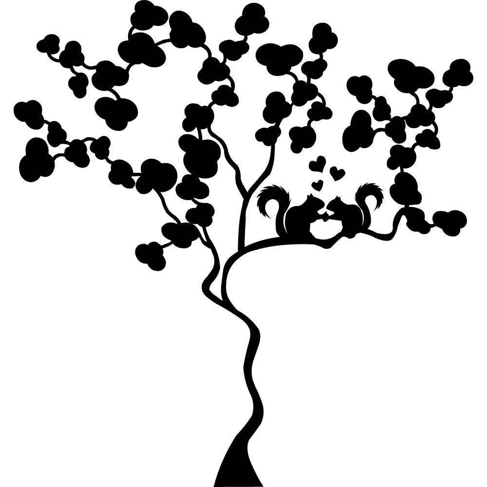 Adesivi follia adesivo murale albero scoiattoli - Adesivo albero ikea ...