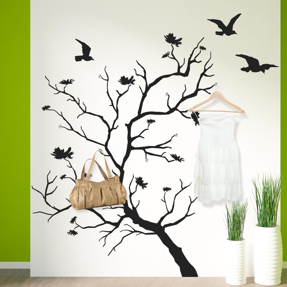 Adesivi follia adesivo murale appendiabiti albero uccelli for Appendiabiti albero