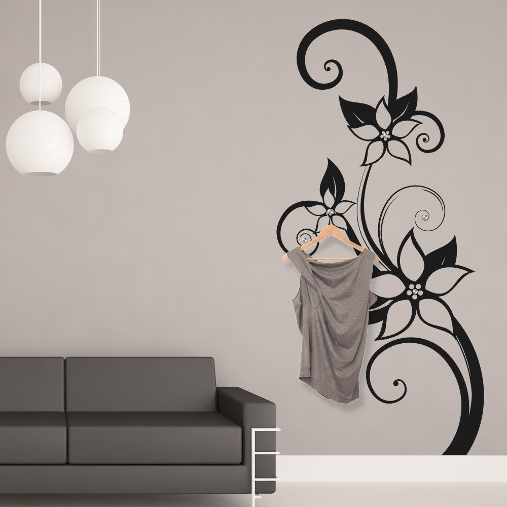 Adesivi follia adesivo murale appendiabiti fiore for Adesivi follia