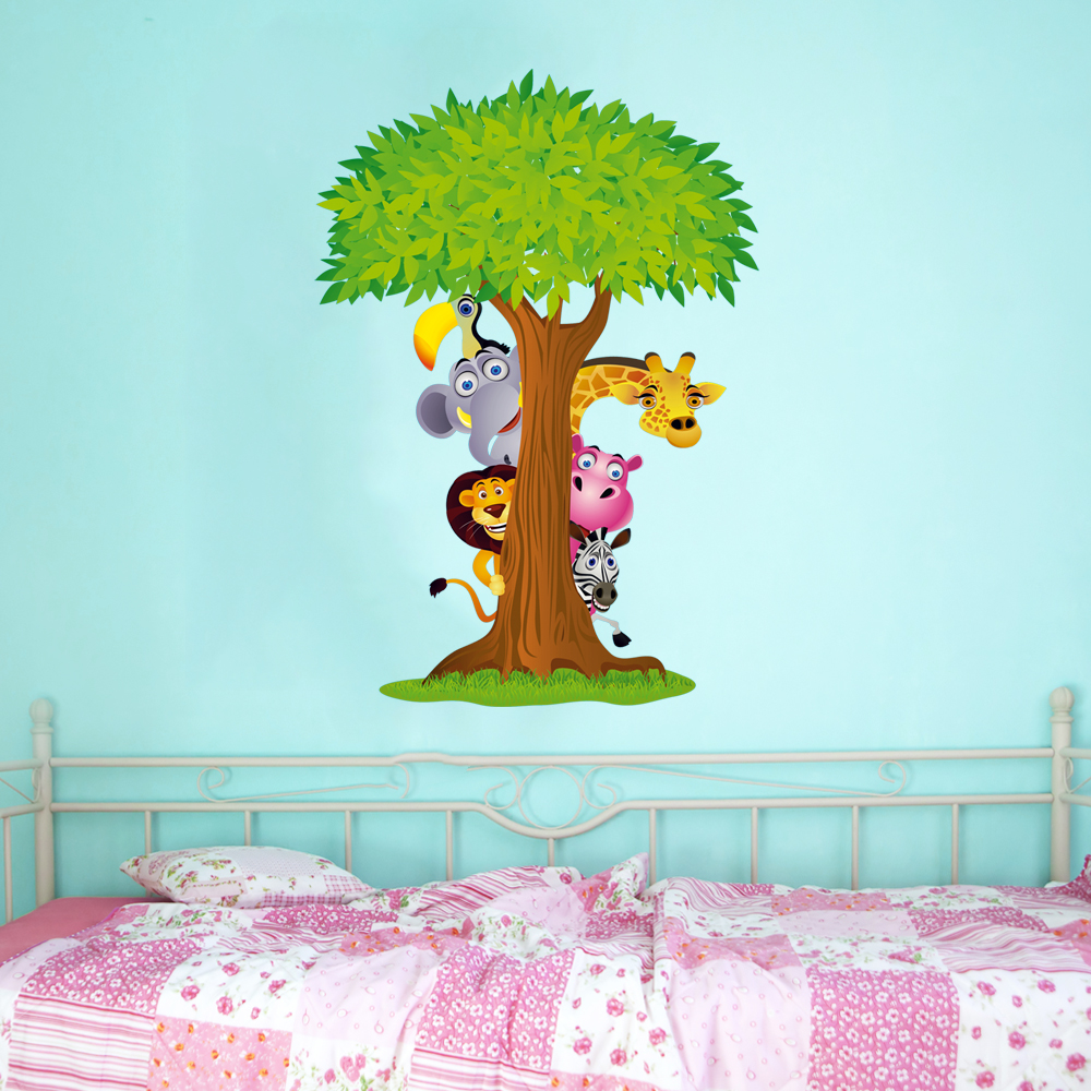 Adesivi Murali Animali Per Bambini.Adesivi Follia Adesivo Murale Bambino Albero Animali