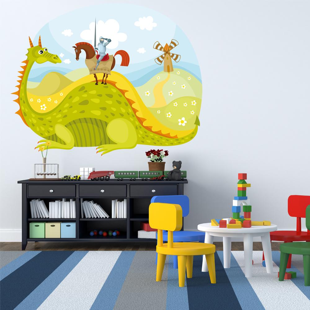 Adesivi follia : Adesivo Murale bambino paesaggio cavalieri e drago