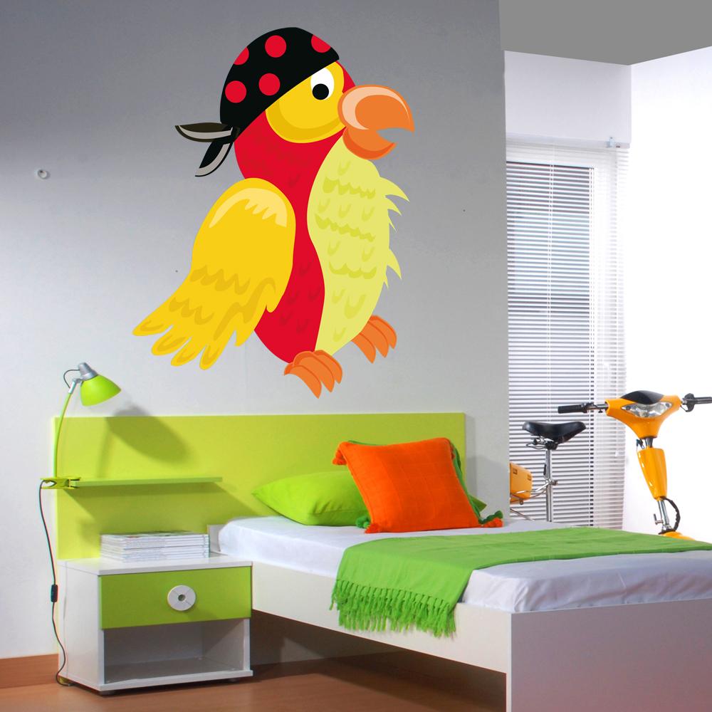 Adesivi follia adesivo murale bambino uccello pirata for Adesivi follia