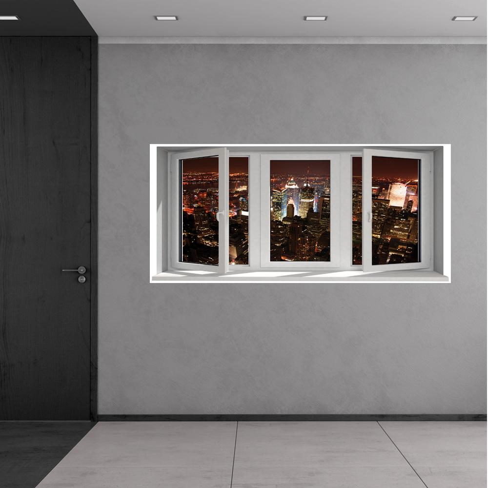 Adesivi follia adesivo murale finestra trompe l 39 oeil - Adesivo murale finestra ...