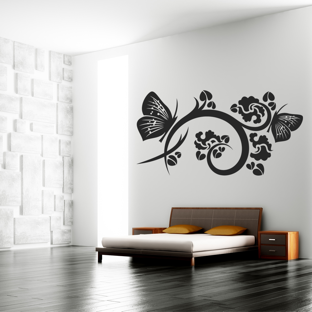Adesivi follia adesivo murale fiore farfalla for Adesivi follia