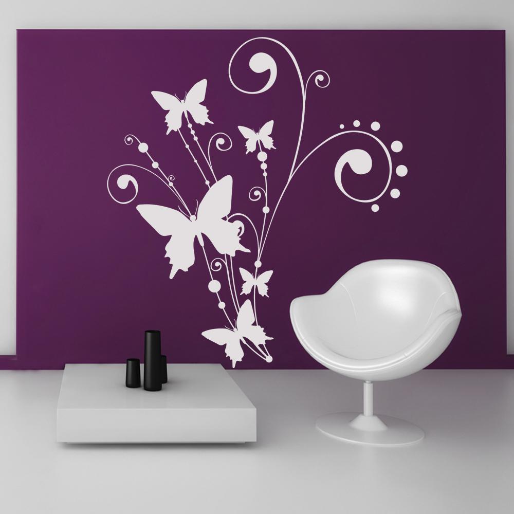 Adesivi follia : adesivo murale fiore farfalle