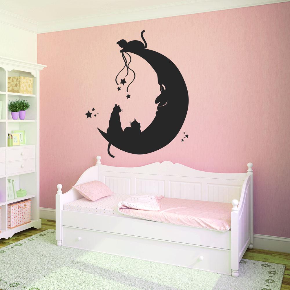 Adesivi follia adesivo murale gatti luna - Vinilos decorativos gatos ...