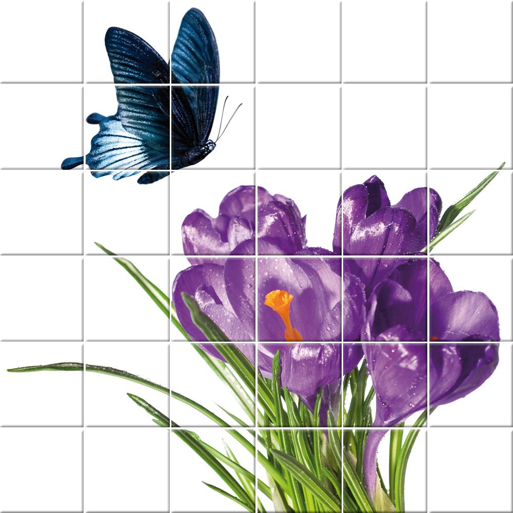 Adesivi follia adesivo per piastrelle fiore farfalle - Adesivi decorativi per piastrelle ...