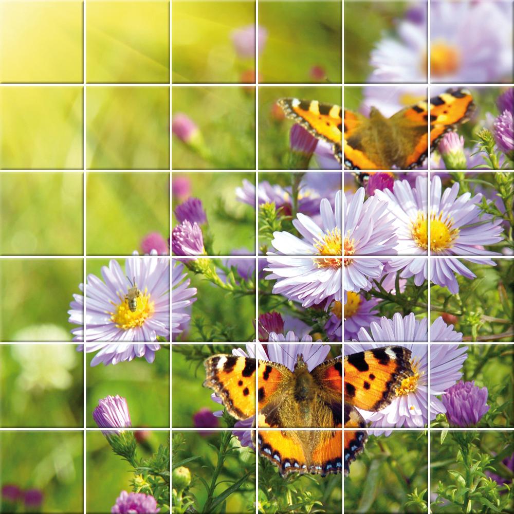 Adesivi follia adesivo per piastrelle fiori farfalle - Azulejos con flores ...