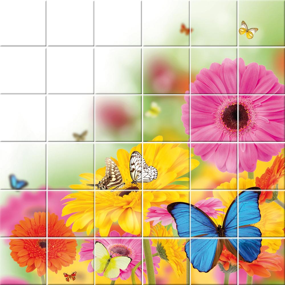 Piastrelle Cucina Con Fiori adesivi follia : adesivo per piastrelle fiori farfalle