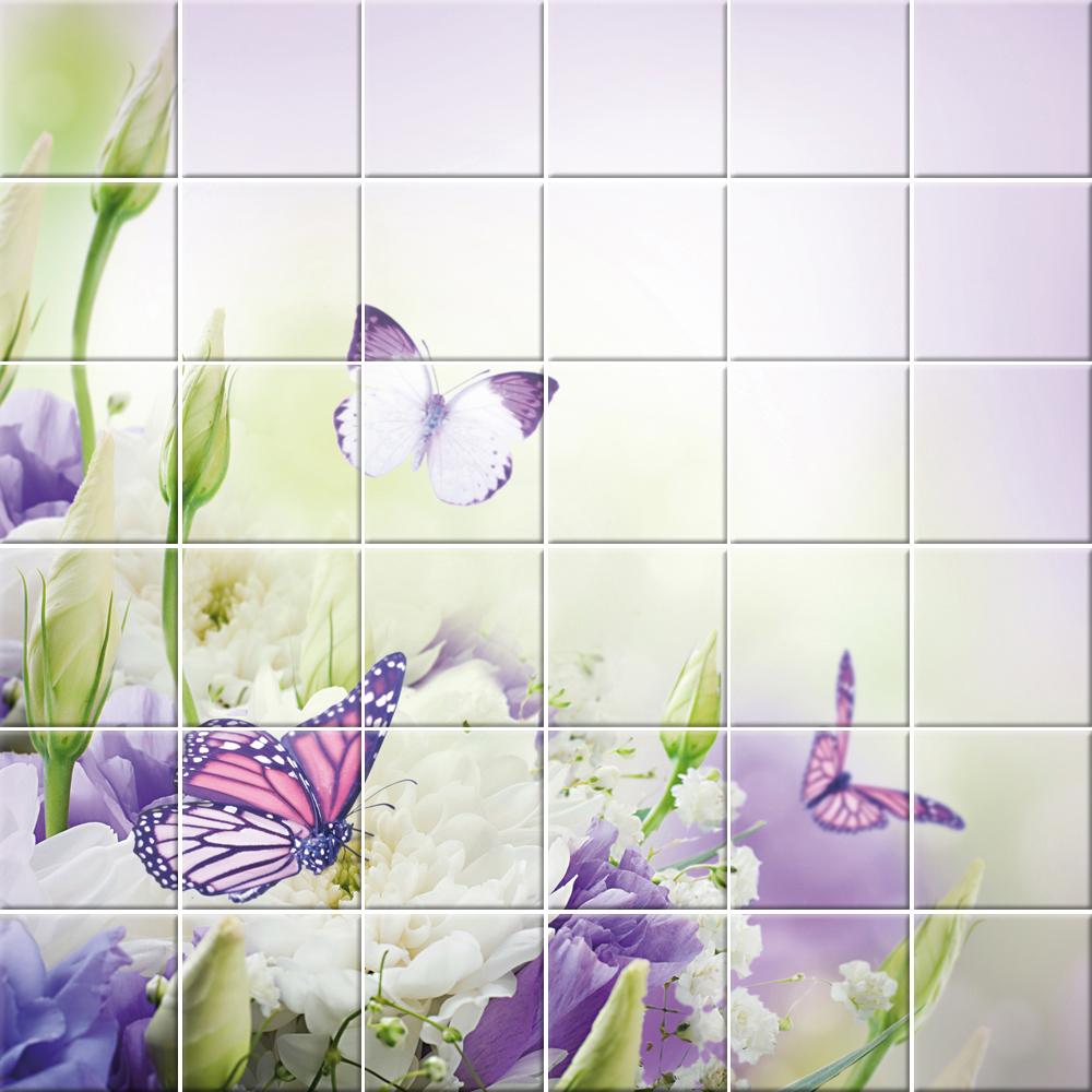 Adesivi follia adesivo per piastrelle fiori farfalle - Adesivi per piastrelle ...