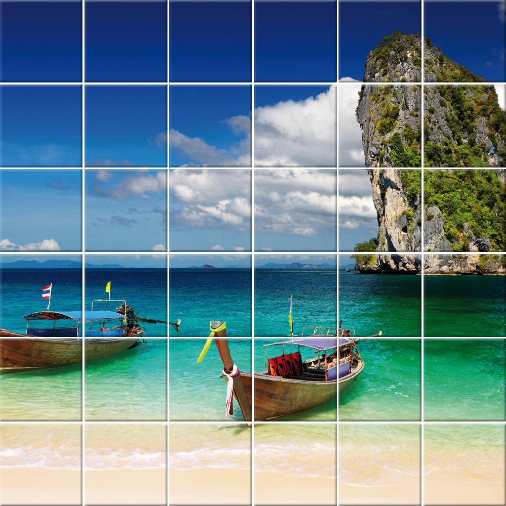 Adesivi follia adesivo per piastrelle mare barca - Adesivi decorativi per piastrelle ...
