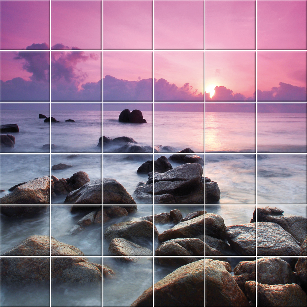 Adesivi follia adesivo per piastrelle mare tramonto for Adesivi per piastrelle doccia