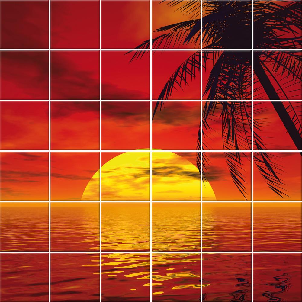 Adesivi follia adesivo per piastrelle mare tramonto - Adesivi decorativi per piastrelle ...