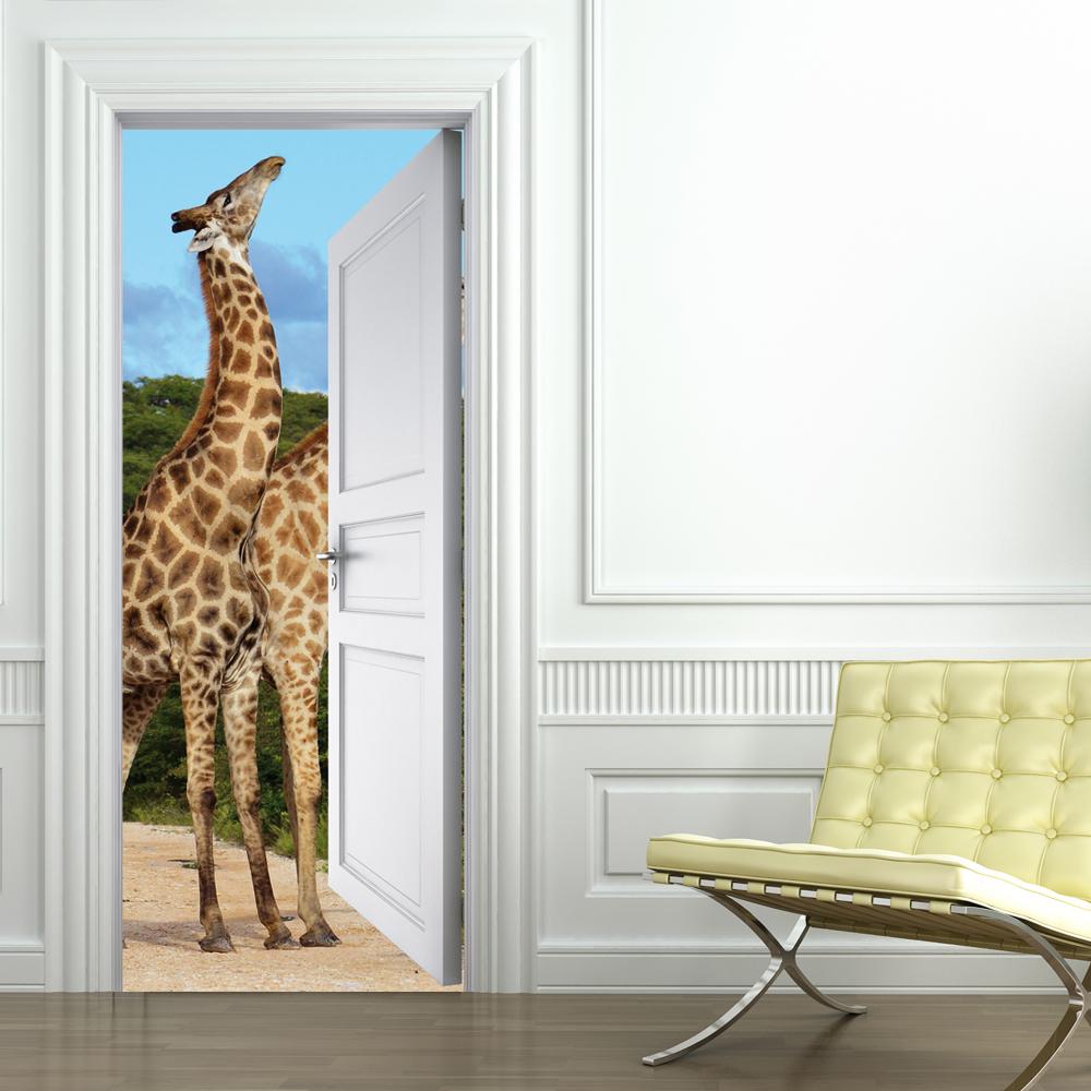 Adesivi follia adesivo per porte giraffa - Adesivi decorativi per porte ...