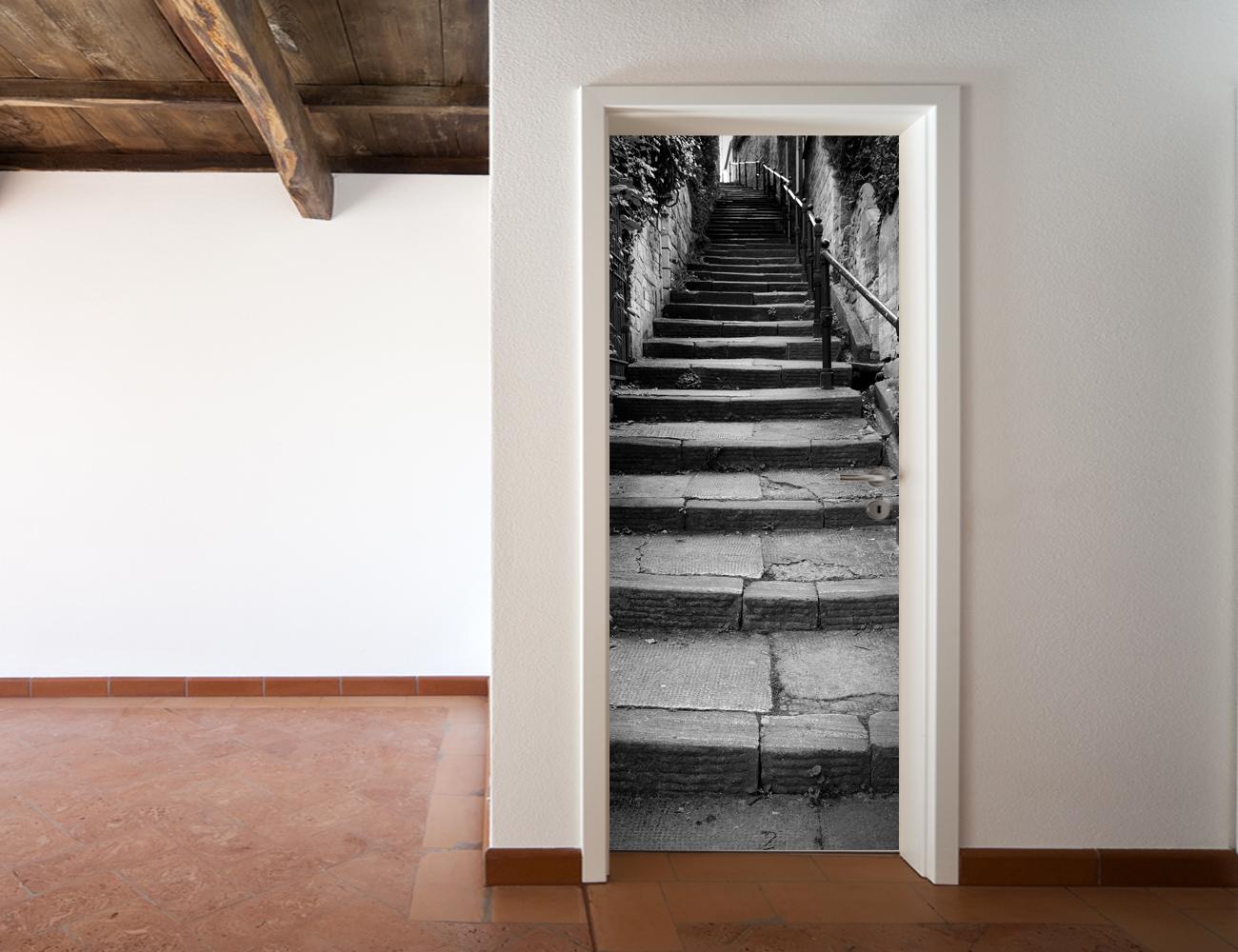 Adesivi follia adesivo per porte gradino - Adesivi decorativi per porte ...