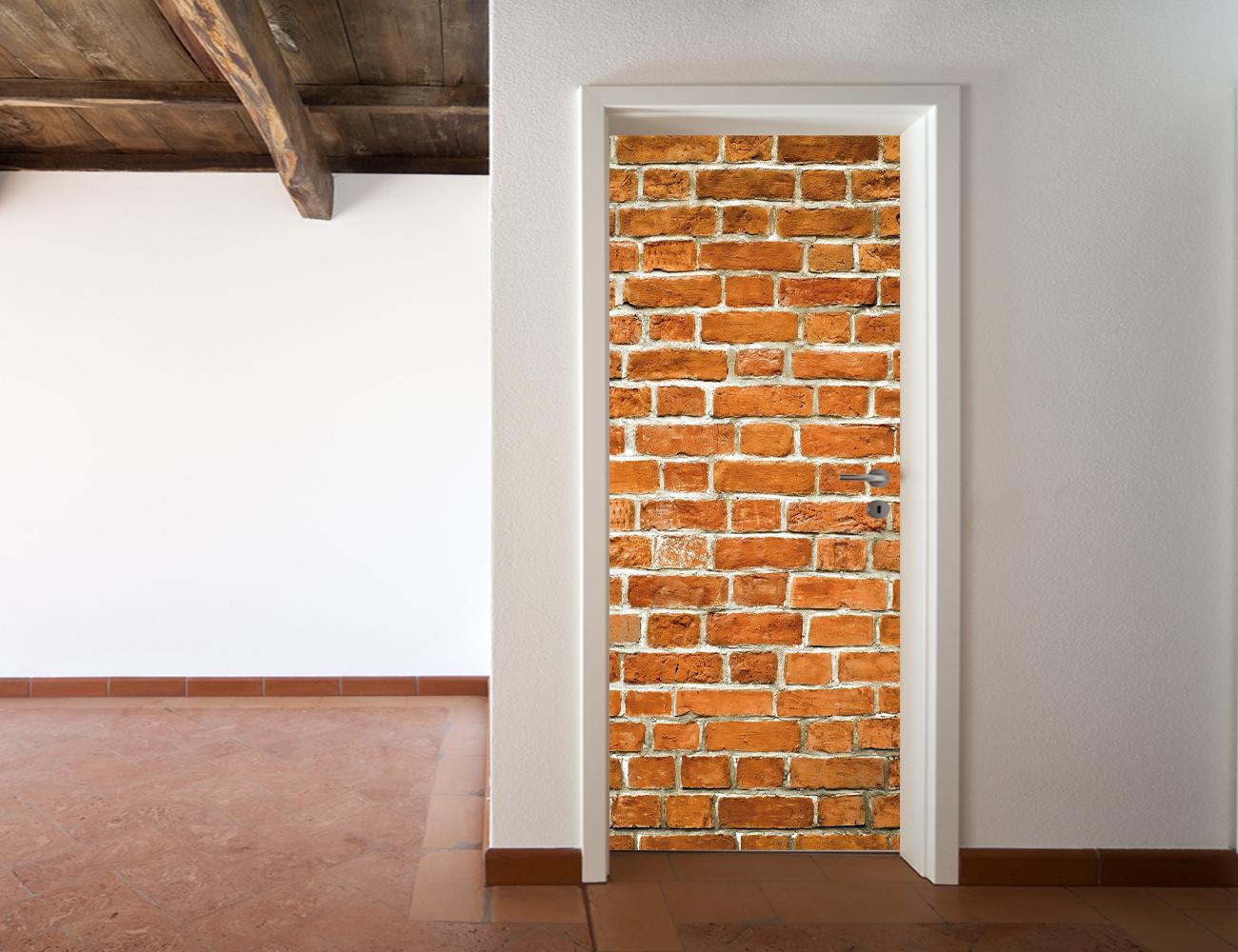 Adesivi follia adesivo per porte mattoni - Adesivi decorativi per porte ...