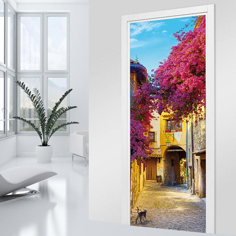 Adesivi follia adesivo per porte piazza fiorita - Adesivi decorativi per porte ...