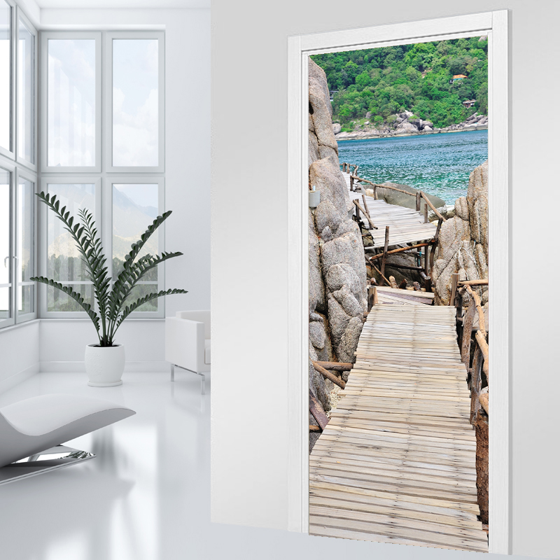 Adesivi follia adesivo per porte ponte di legno for Adesivi per legno