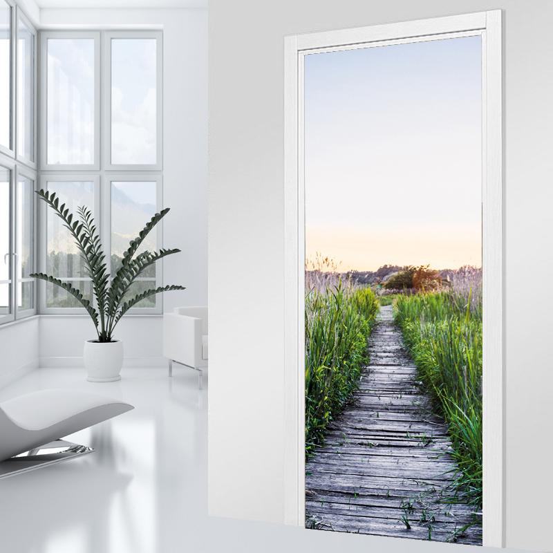 Adesivi follia adesivo per porte ponte legno - Adesivi decorativi per porte ...