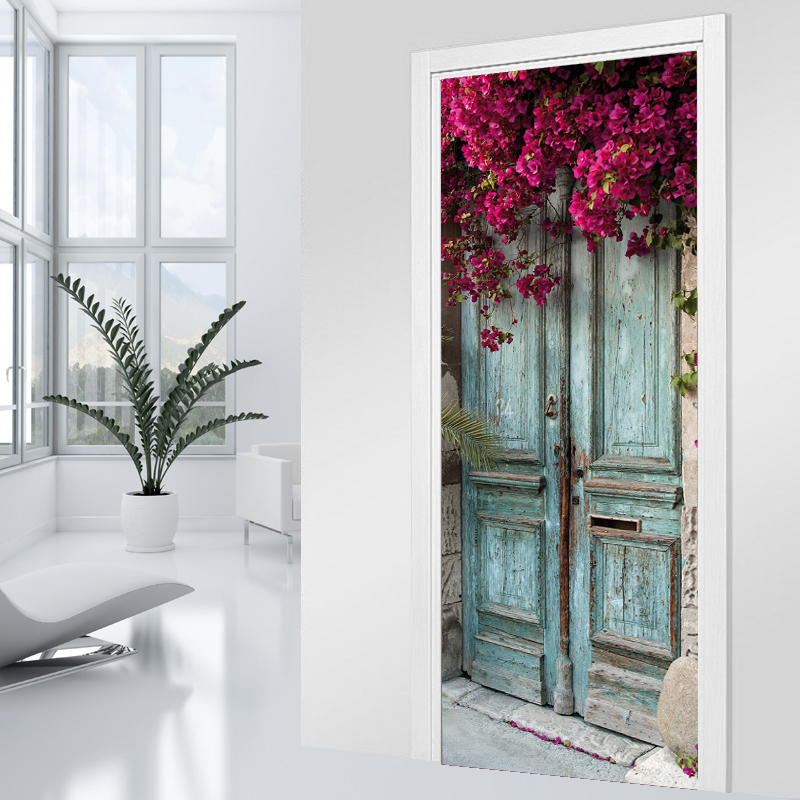 adesivi follia adesivo per porte porta fiorita. Black Bedroom Furniture Sets. Home Design Ideas