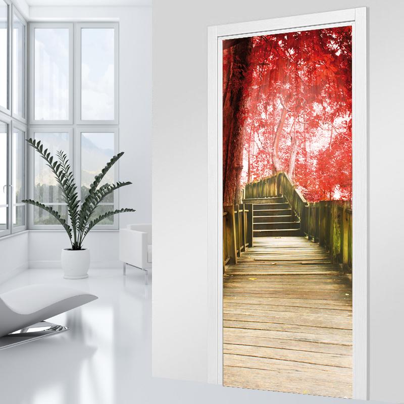Adesivi follia adesivo per porte scala albero rosso - Adesivi decorativi per porte ...
