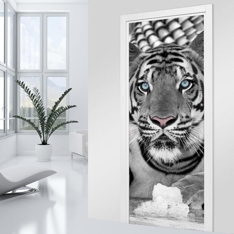 Adesivi follia adesivo per porte tigre black white - Adesivi decorativi per porte ...