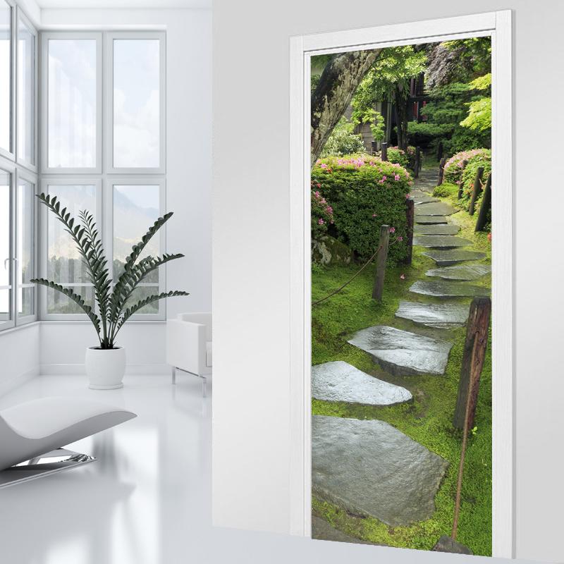 Adesivi follia adesivo per porte viale ciottoli - Adesivi decorativi per porte ...