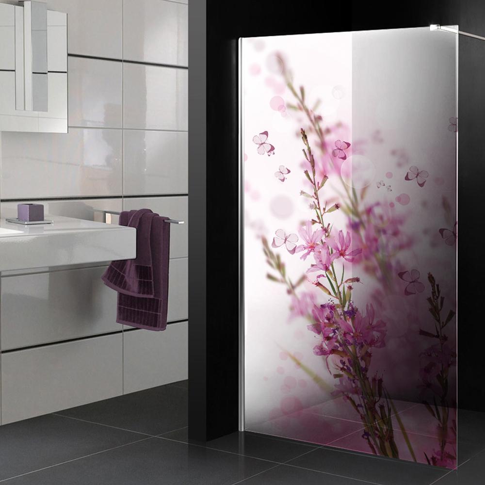 Adesivi follia adesivo traslucido per box doccia fiori for Adesivi per piastrelle doccia