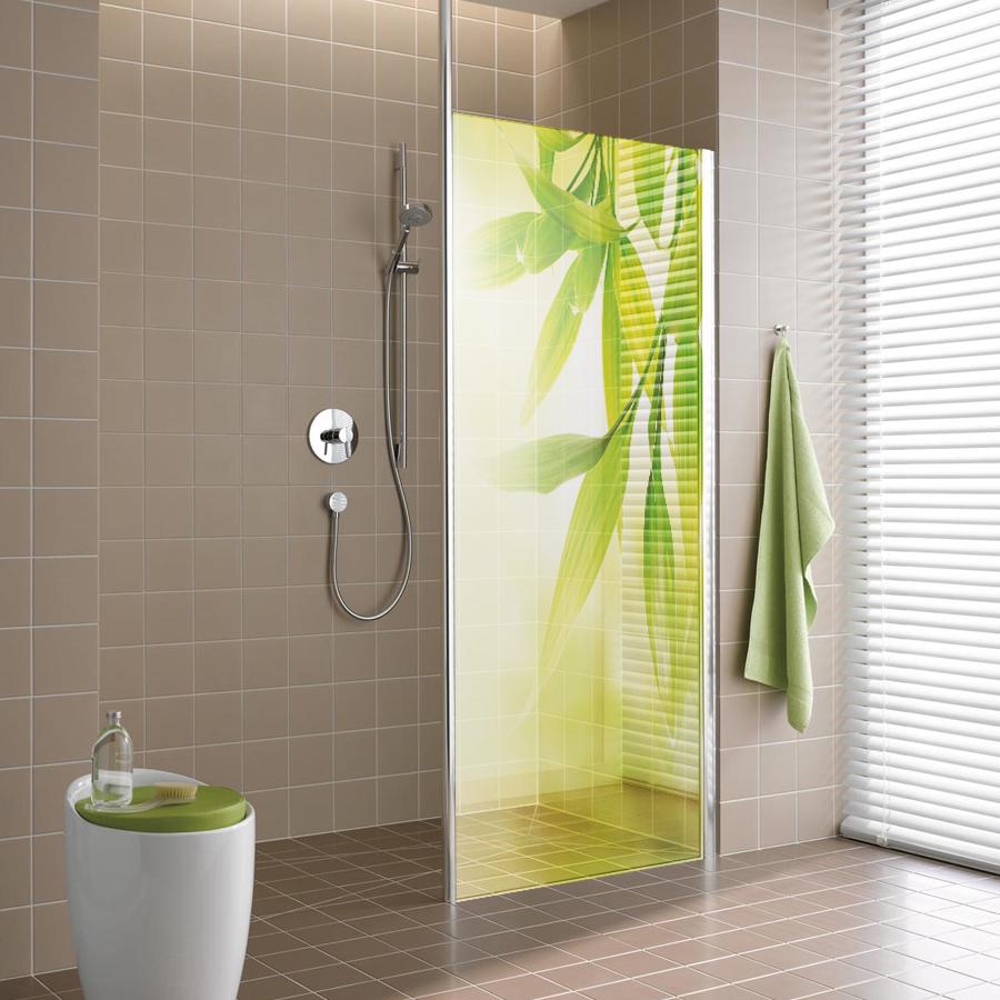 Adesivi follia adesivo traslucido per box doccia foglie for Adesivi per piastrelle doccia