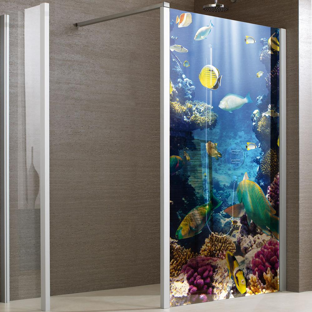 adesivi follia adesivo traslucido per box doccia pesci