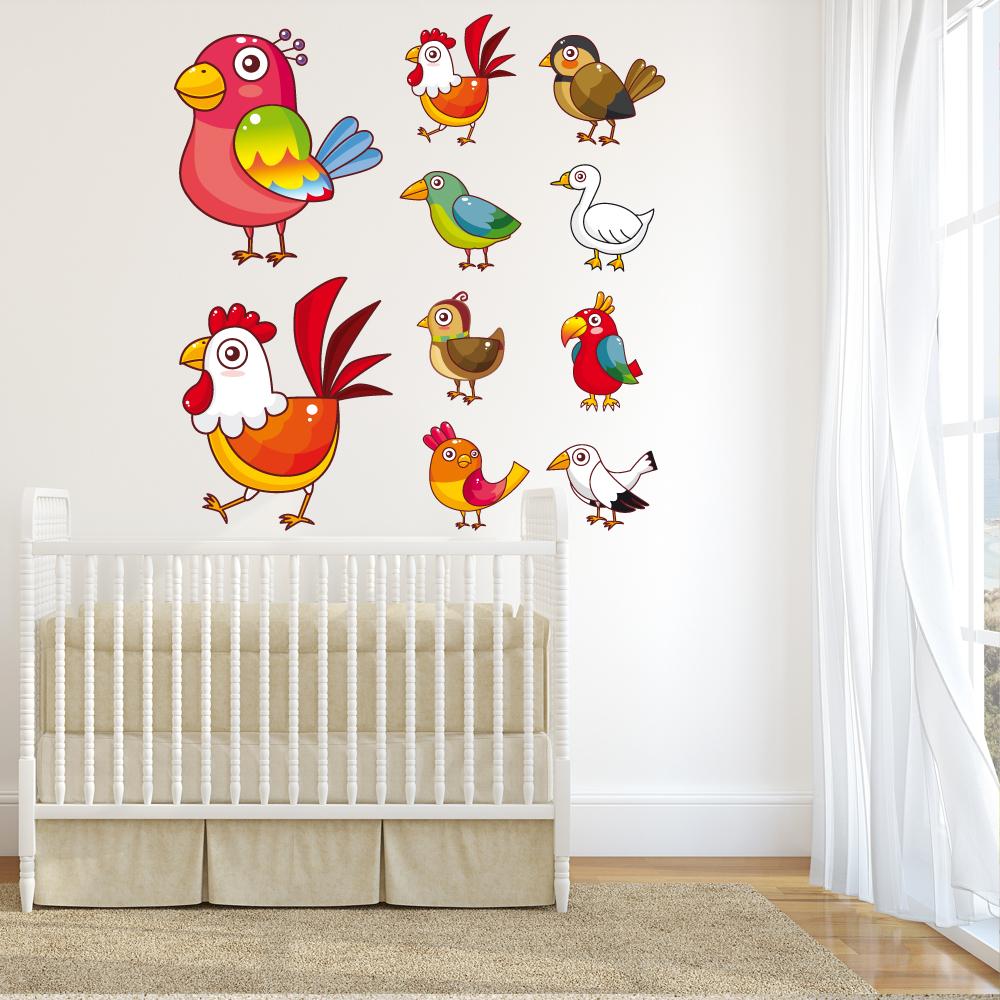 Adesivi follia kit adesivo murale bambini 10 uccelli for Adesivi follia