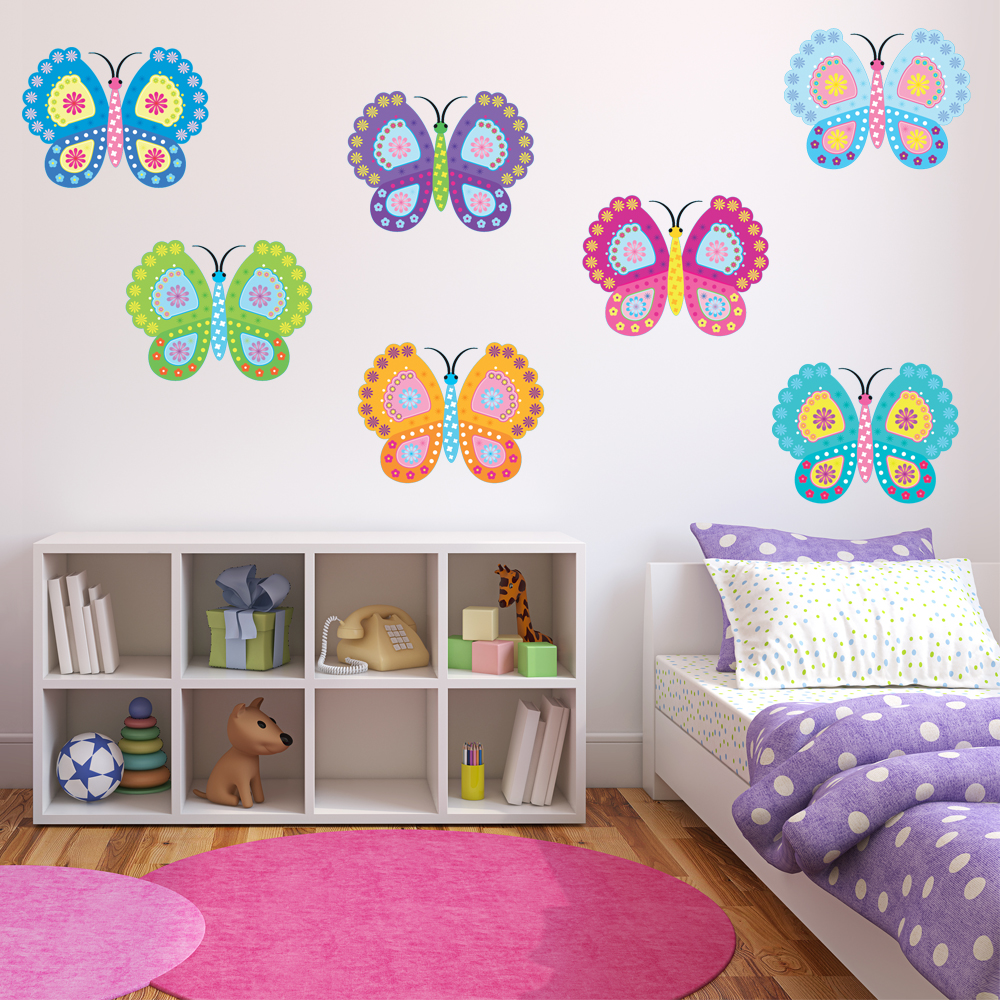 Adesivi follia kit adesivo murale bambini 12 farfalle for Adesivi follia