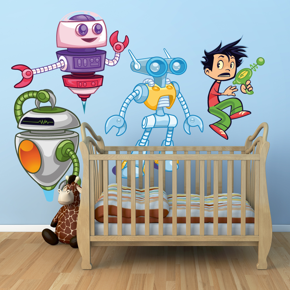 Adesivi follia kit adesivo murale bambini 3 robot e bambino for Adesivi follia