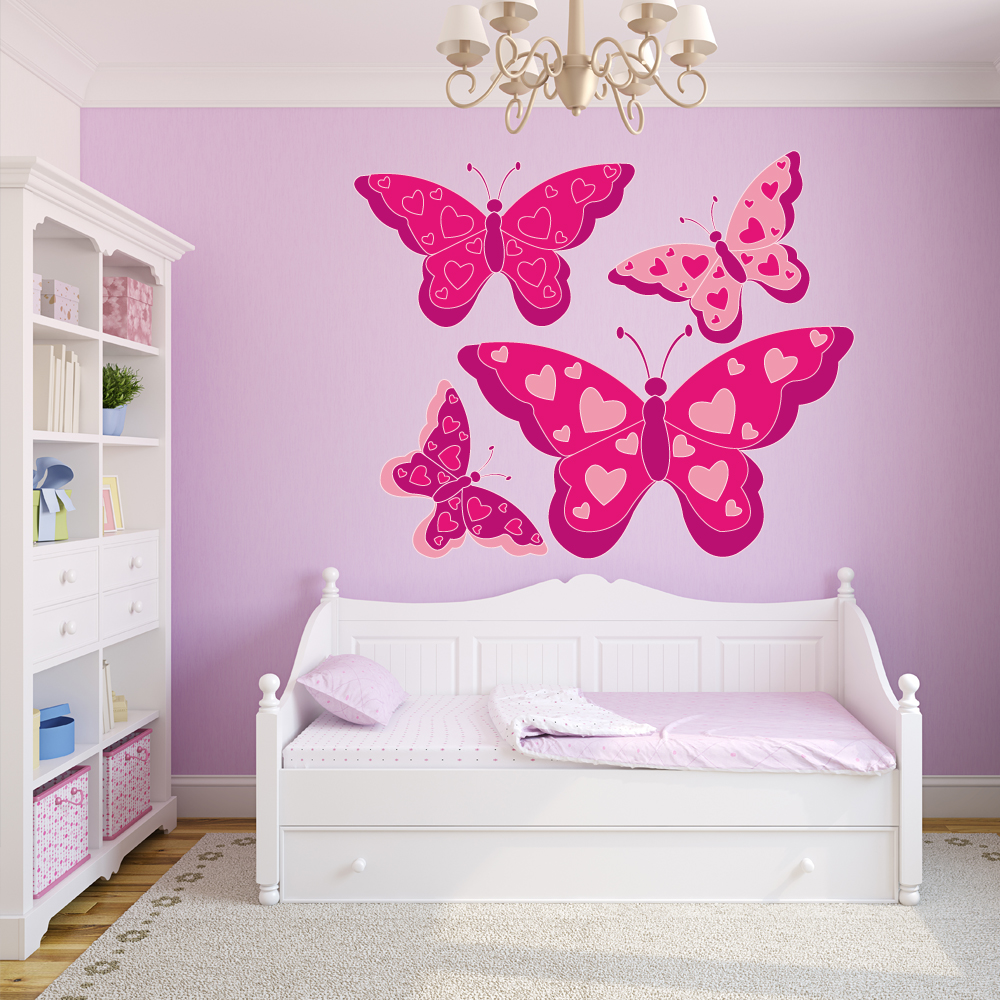 Adesivi follia kit adesivo murale bambini 4 farfalle for Adesivi follia