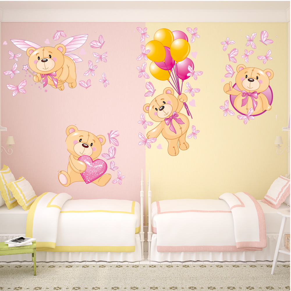 Adesivi Murali Orsetti.Adesivi Follia Kit Adesivo Murale Bambini 4 Orsetti E Farfalle