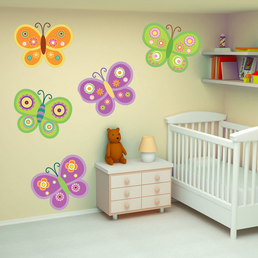 Adesivi follia kit adesivo murale bambini 9 farfalle for Adesivi follia