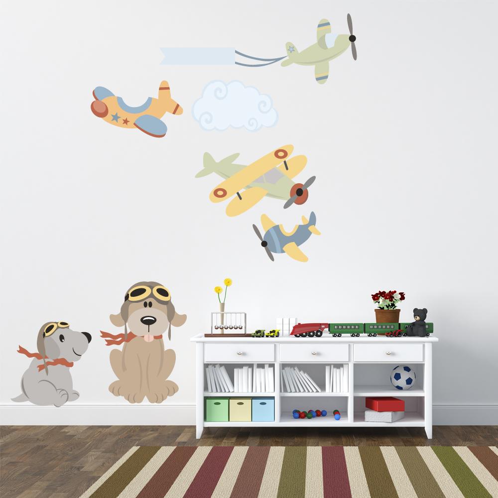 Adesivi follia : Kit Adesivo Murale bambini aerei