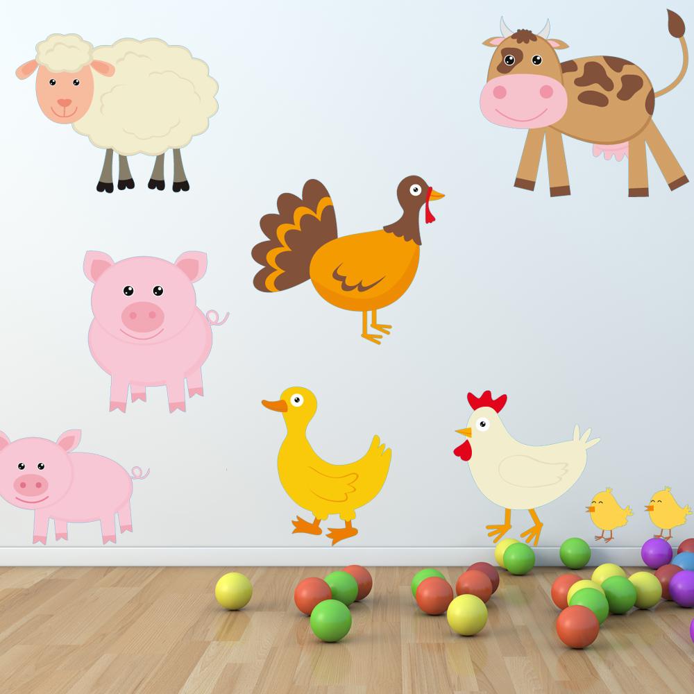 Adesivi follia kit adesivo murale bambini animali della for Foto di fattoria moderna