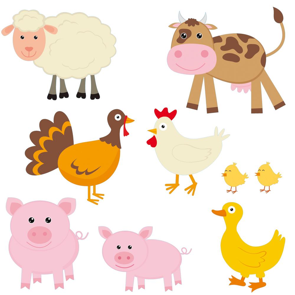 Adesivi follia kit adesivo murale bambini animali della - Animali terrestri per bambini ...