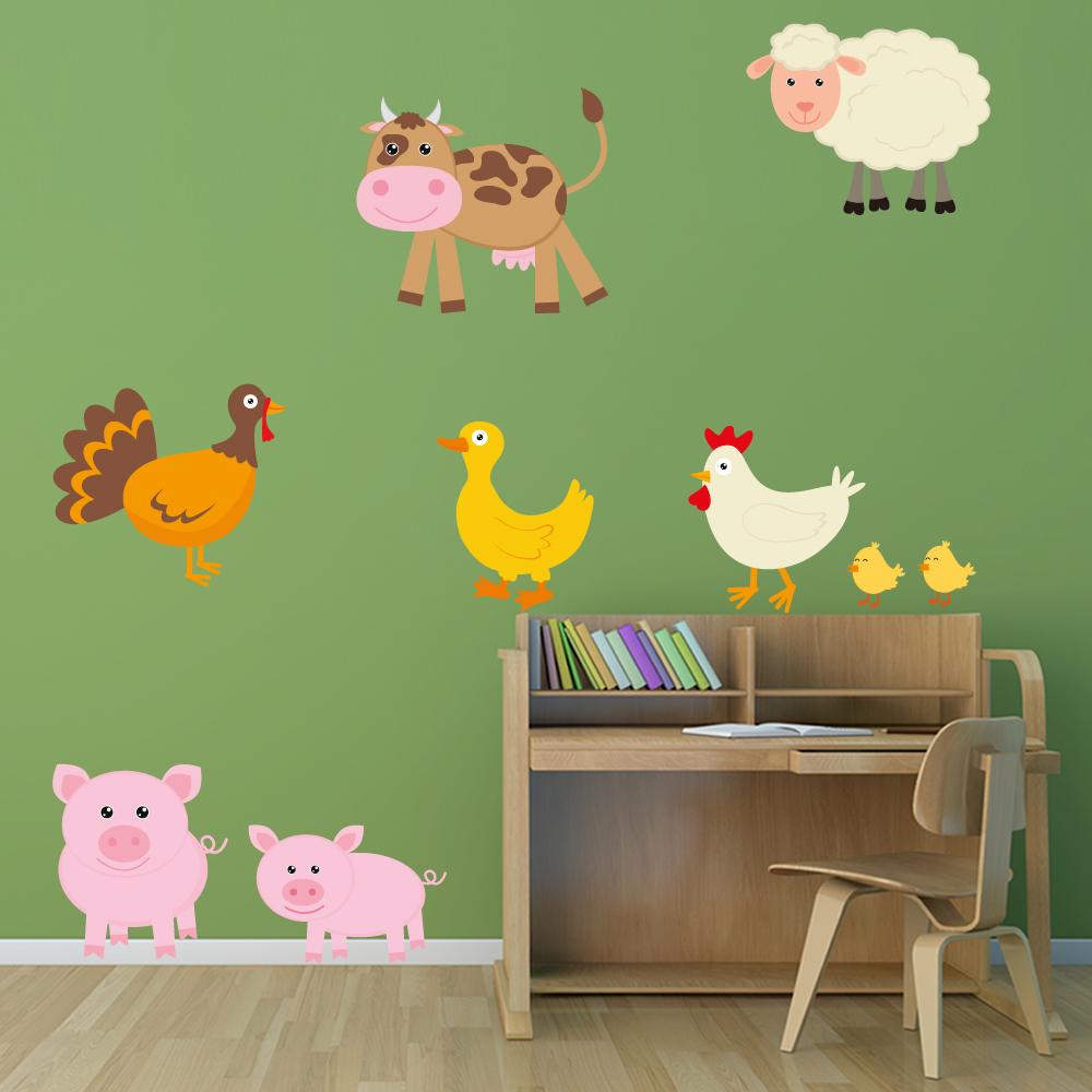 Adesivi follia kit adesivo murale bambini animali della for Adesivi follia