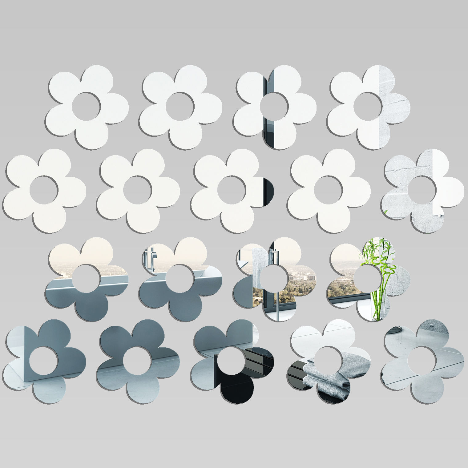 Adesivi follia kit specchio acrilico plexiglass fiori for Espejos finos decorativos